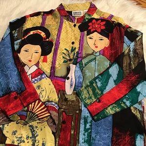 Chico's Design Silk Asian Inspired Top Med